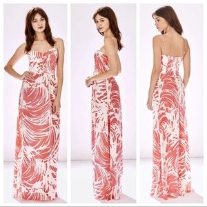 Parker 100% Silk Tampa Maxi Dress Pink White L